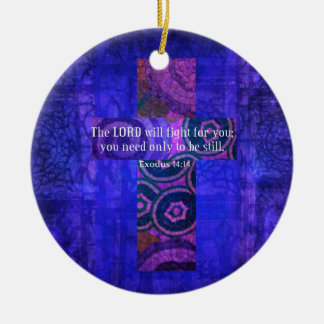 Exodus 14:14 Uplifting Beautiful Bible Scripture Ceramic Ornament