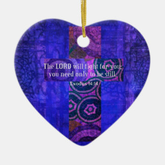 Exodus 14:14 Uplifting Beautiful Bible Scripture Double-Sided Heart Ceramic Christmas Ornament