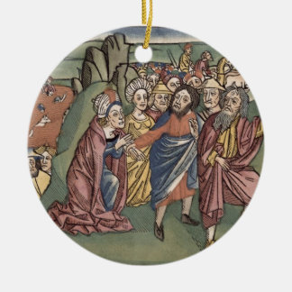 Exodus 14 Moses and the Israelites crossing the Re Double-Sided Ceramic Round Christmas Ornament