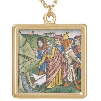 Exodus 17 1-7 Moses makes the water flow from the Square Pendant Necklace