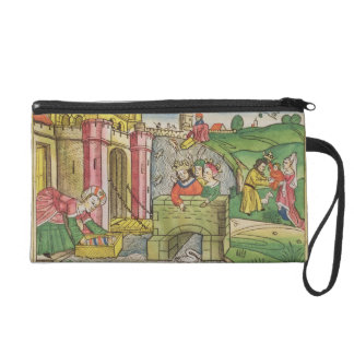 Exodus 2 1-6 Moses being floated down the Nile and Wristlet Purse