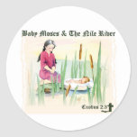 Exodus 2:3 - Baby Moses on the Nile River Classic Round Sticker