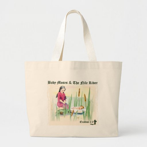 Exodus 2:3 - Baby Moses on the Nile River Large Tote Bag
