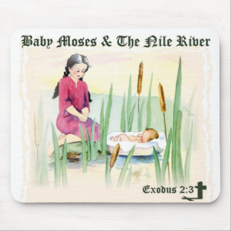Exodus 2:3 - Baby Moses on the Nile River Mousepads
