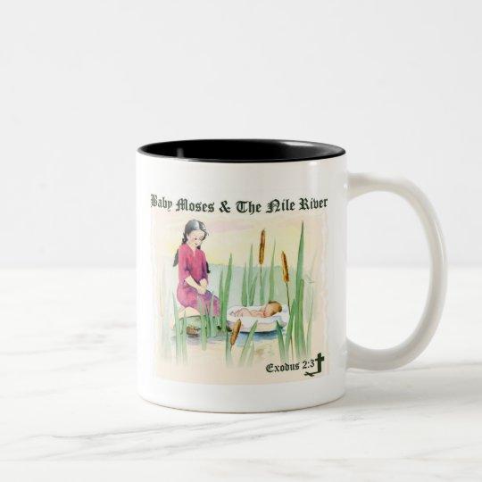 Exodus 2:3 - Baby Moses on the Nile River Two-Tone Coffee Mug