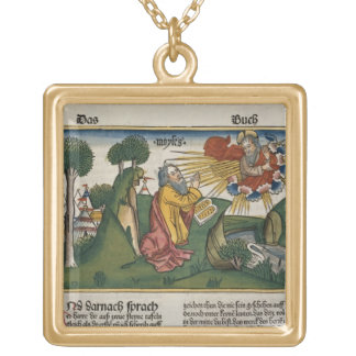 Exodus 34 1-10 Moses receives the second tablets w Square Pendant Necklace