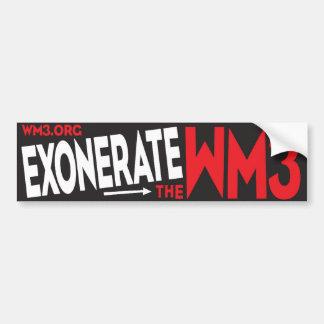 EXONERATE THE WM3 BUMPER STICKER CAR BUMPER STICKER