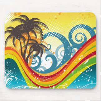 Exotic Abstract Deserted Island Print Mouse Pad