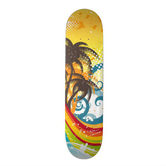 Exotic Abstract Deserted Island Print Skateboard Deck