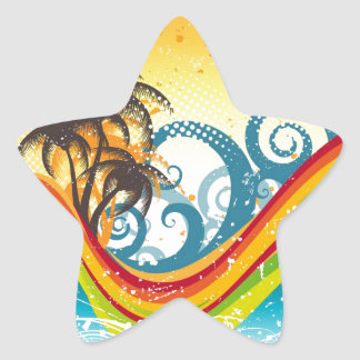 Exotic Abstract Deserted Island Print Star Sticker