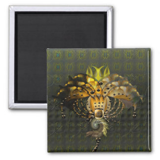 Exotic alien flower 2 inch square magnet