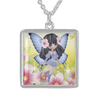 Exotic and Amazing Brunette Princess Fairy Girl Sterling Silver Necklace