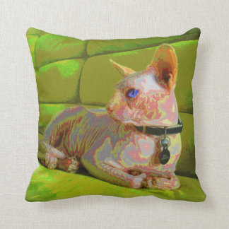 Exotic and rare hairless cat throw pillow