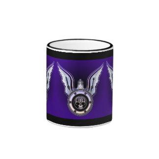 exotic angel wings with skull medallion ringer mug
