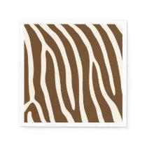 Exotic Animal Zebra Stripes in Brown Paper Napkin