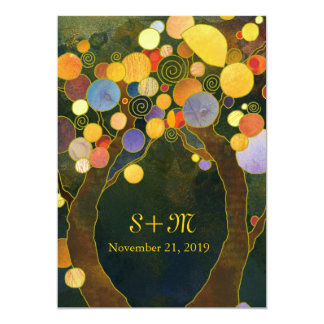 Exotic Artistic Love Trees Monogram Wedding Card