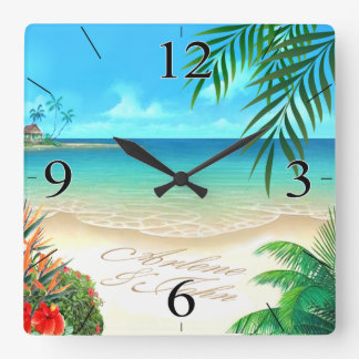 Exotic Beach ASK ME TO DRAW YOUR NAMES IN SAND Square Wall Clock