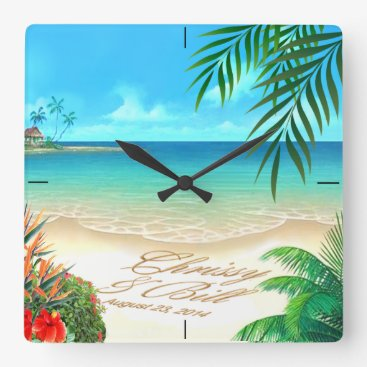 Beach Themed Exotic Beach ASK ME TO DRAW YOUR NAMES IN SAND Square Wall Clock