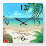 Exotic Beach ASK ME TO DRAW YOUR NAMES IN SAND Square Wallclocks
