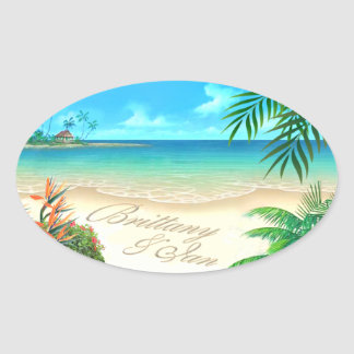Exotic Beach (ask me to put your names in sand) Oval Sticker