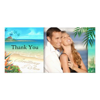 Exotic Beach ask me to put your names in the sand Picture Card