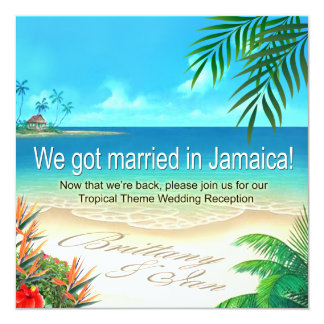 Exotic Beach Jamaica Reception get names in sand Card