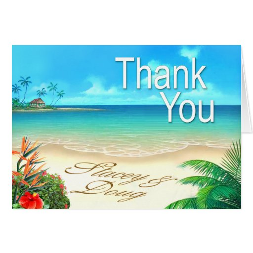 Exotic Beach Thank You Greeting Cards