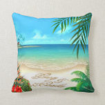Exotic Beach Tropical ask me to add names in sand Pillows