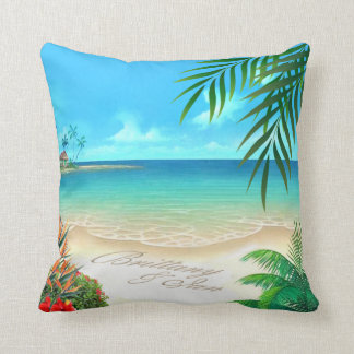 Exotic Beach Tropical ask me to add names in sand Pillow