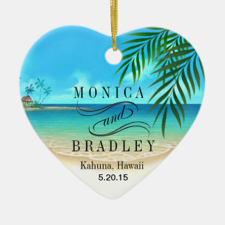 Exotic Beach Tropical Destination Wedding Ceramic Ornament