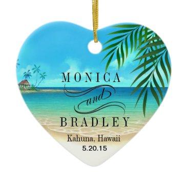 Beach Themed Exotic Beach Tropical Destination Wedding Ceramic Ornament