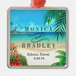 Exotic Beach Tropical Destination Wedding Metal Ornament