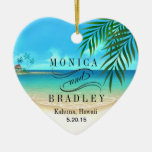 Exotic Beach Tropical Destination Wedding Double-Sided Heart Ceramic Christmas Ornament