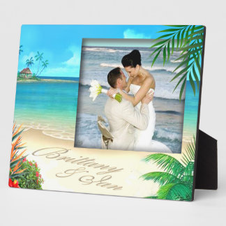 Exotic Beach Wedding Photo Plaque