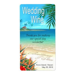 Exotic Beach Wedding Wine Label