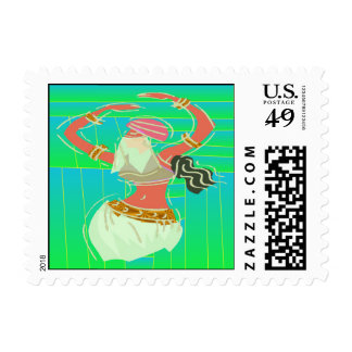 Exotic Belly Dancer Postage Stamp