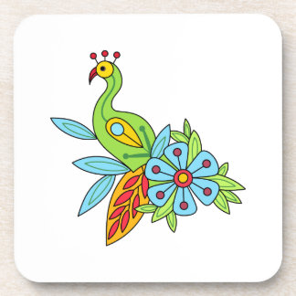 EXOTIC BIRD AND FLOWER DRINK COASTERS