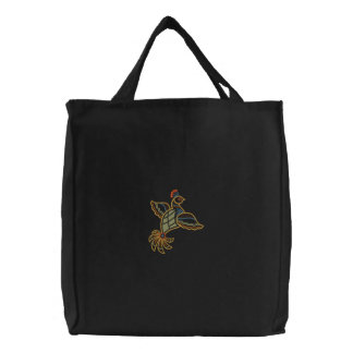 Exotic Bird Embroidered Tote Bag