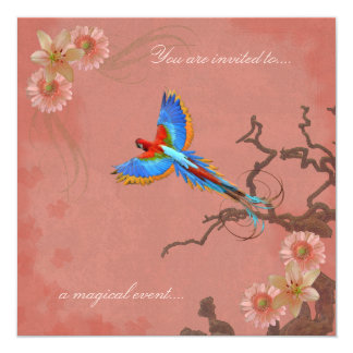 Exotic Bird & Flowers Collage Wedding Invitations