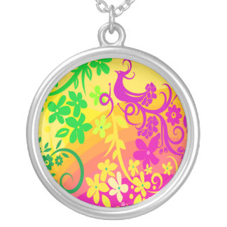 Exotic Bird In Tropical Colors Silver Plated Necklace