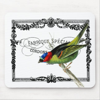 Exotic Bird, Vintage Typography Mouse Pad
