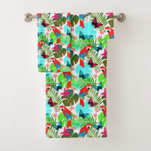 Exotic Birds Butterflies Tropical Leaves Modern Bath Towel Set. Such a pretty design with exotic butterflies, birds and tropical leaves in bright colorful tones which just ooze with a tropical Summer feel, modern on trend Summery print.