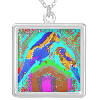 Exotic Birds:  Mommy and Baby Parrot Silver Plated Necklace