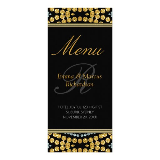 Exotic Black & Gold Sparkly Wedding Menu Card
