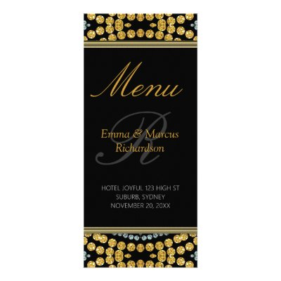 Exotic Black & Gold Sparkly Wedding Menu Card Rack Card Template