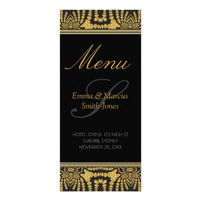 Exotic Black & Gold Tribal Batik Wedding Menu Card Rack Card Design