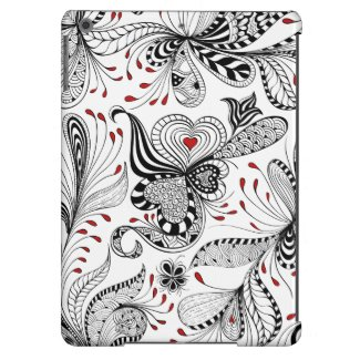 Exotic Black & Red Floral Swirls & Hearts iPad Air Cover