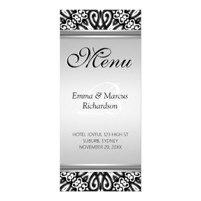Exotic Black & White Decor Wedding Menu Card Rack Card Design