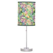 Exotic Blooming Watercolor Cacti Pattern Desk Lamp