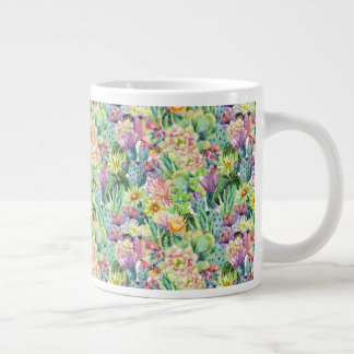 Exotic Blooming Watercolor Cacti Pattern Large Coffee Mug